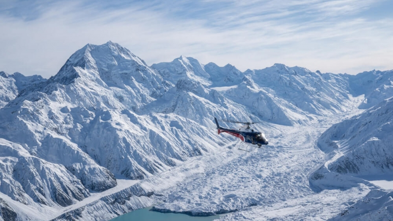 The Helicopter Line Mount Cook Flying Over Hooker Glacier