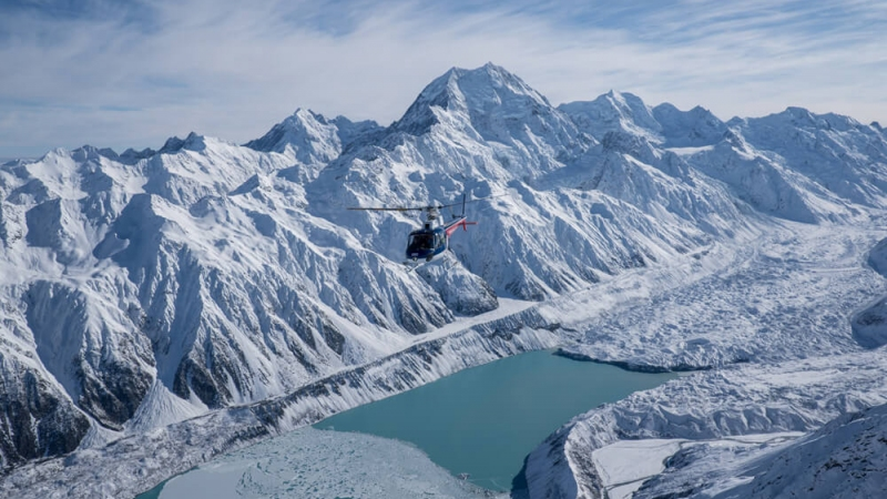 The Helicopter Line Mount Cook Hooker Lake from Above