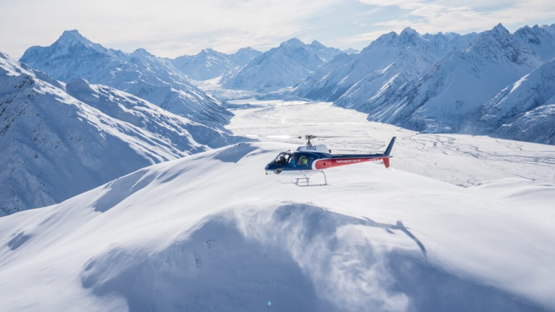 The Helicopter Line Mount Cook Snow Landing