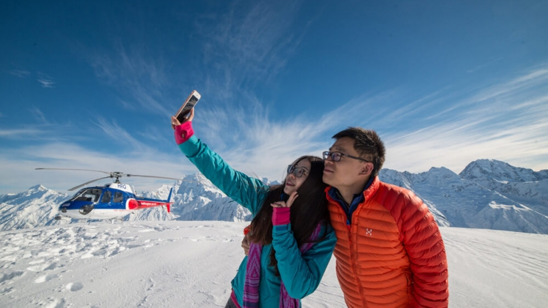 The Helicopter Line Mount Cook Mountain Selfie