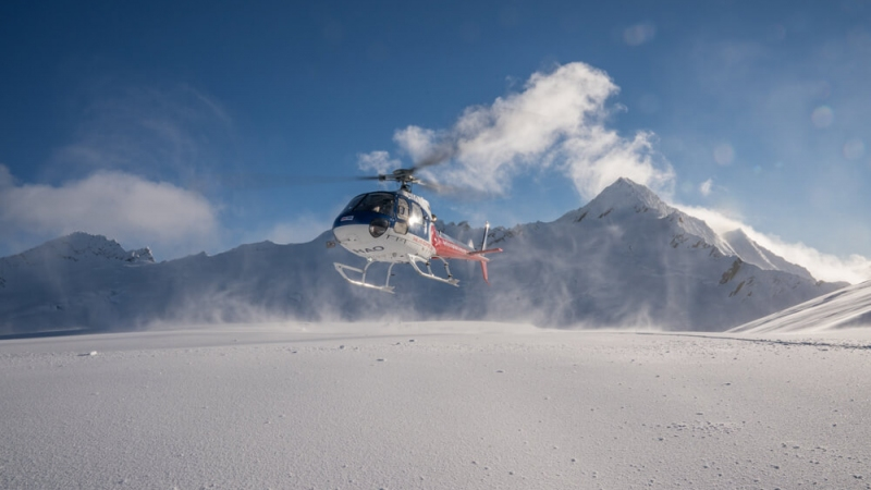 The Helicopter Line Queenstown Snow Landing