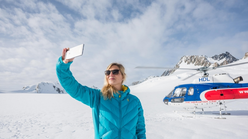 The Helicopter Line West Coast Snow Landing Solo Selfie