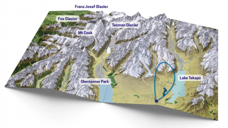 The Helicopter Line Tekapo Alpine Experience Flight Map