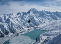The Helicopter Line Mount Cook -Soaring above the snow covered valley